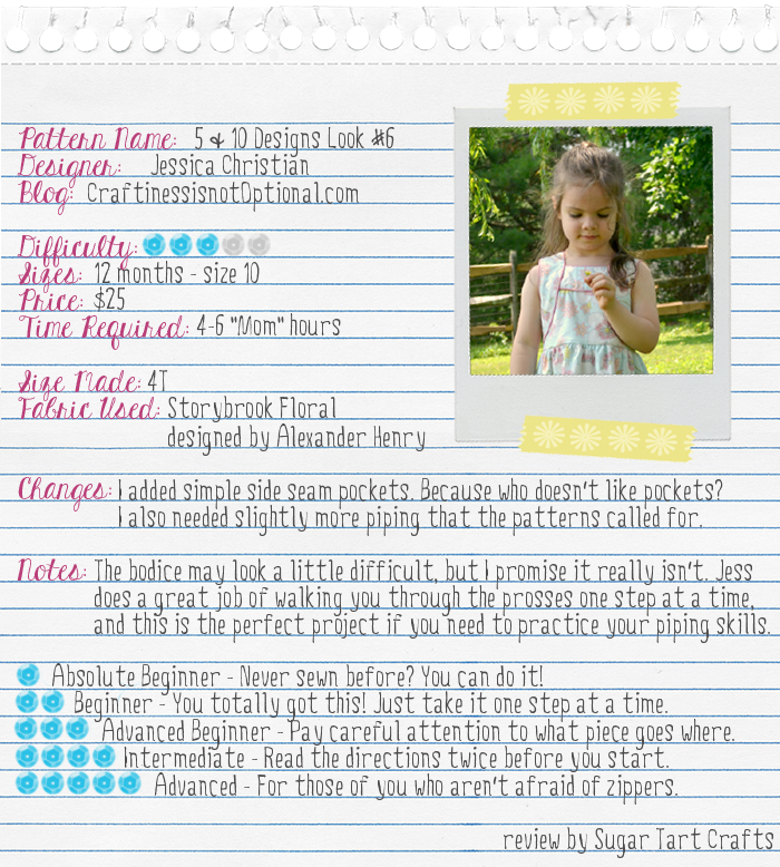 5 & 10 Designs pattern review by Sugar Tart Crafts