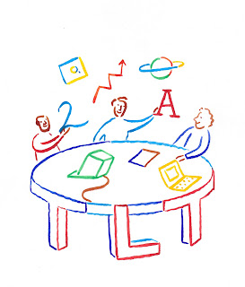 Logo for TLT Group - colorful drawing of 3 people at round table with tech and symbols - by Lonni Sue Johnson