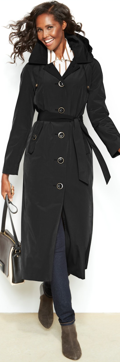 London Fog Belted Black Trench Coat