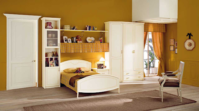 An-Awesome-Mid-Century-Kids-Bedroom-Furniture-Decorating-Ideas-With-White-Cabinet-And-Small-White-Wooden-Bed-And-Laminate-Floor-Also-Storage-Racks-And-Beige-Wall-Paint-Color-Ideas