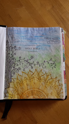 Journaling Bible zentangles on title page with watercolors @faithfullymappingmyway