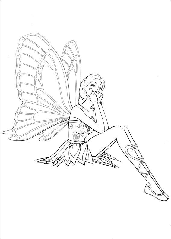 barbie mariposa coloring pages free - photo#4