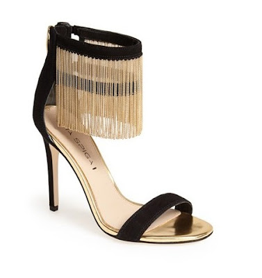 Via Spiga black and gold high heeled barely there sandals with fringe