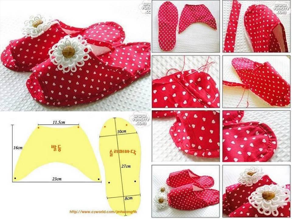 Como hacer pantuflas de tela imagui - Manualidades faciles con tela ...