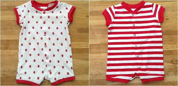 H&M baby clothes - strawberry baby grow and red & white stripe baby grow