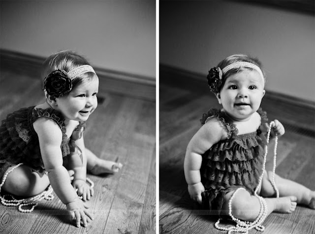 black and white photos of a baby girl in a petti romper and headband with beads