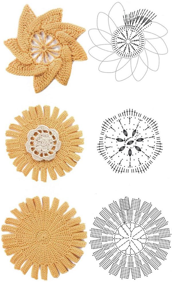 Crochet Simple Flower Diagram : Crochet flowers diagram 1