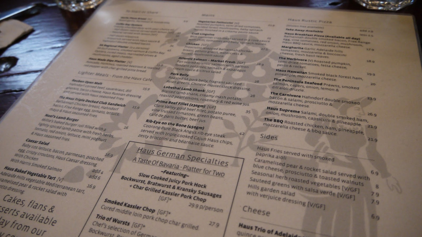 The Haus, Hahndorf, Adelaide, Menu