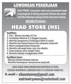 Bursa Kerja Lampung Asia Ponsel