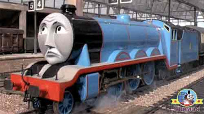 At the Sodor Knapford railway station platform Thomas and friends Gordon tank engine screech along