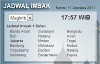 Pasang Widget Imsak Ramadhan 2011 Di Blog (Realtime)