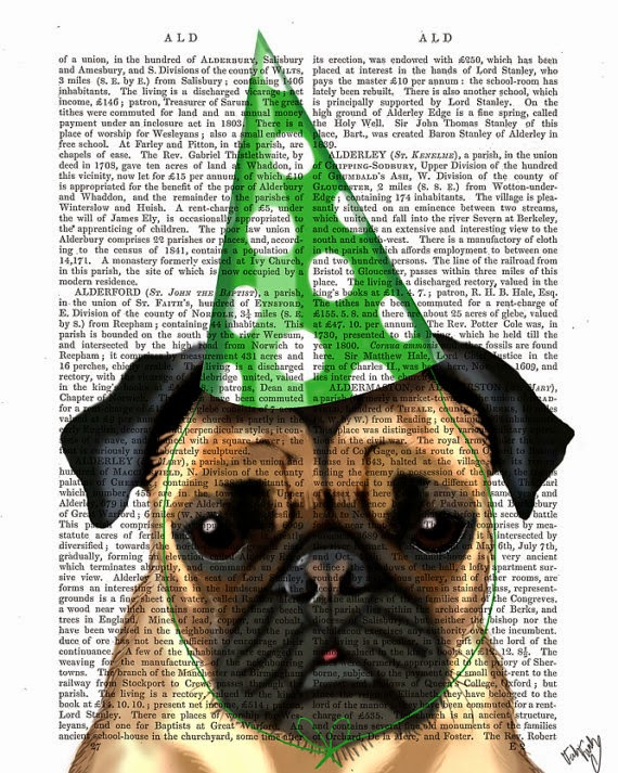 Party Hat Pug illustration by Kelly Stevens on Etsy