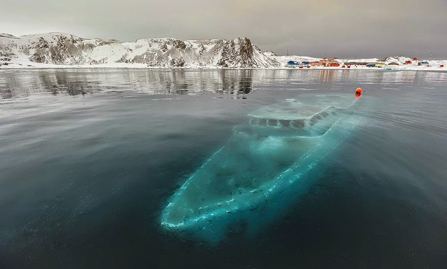 Incredibly Beautiful Abandoned Place in Sunken Yacht, Antarctica