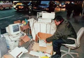 funny picture: computer nerd outside
