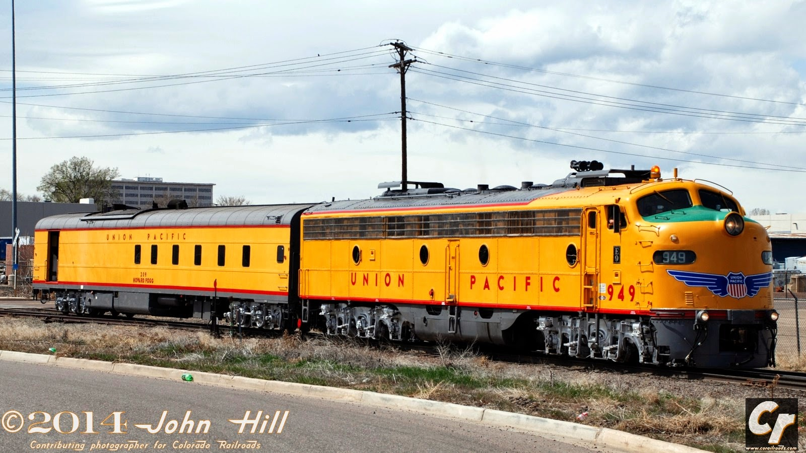 Union Pacific #949, an EMD E9, idles with steam generator car Howard Fogg in Denver's North Yard