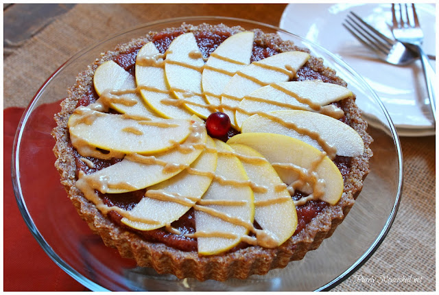 Cranberry Apple Tart with a Caramel Drizzle