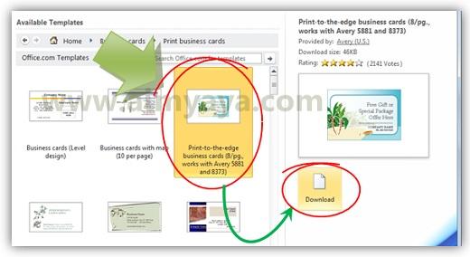 Gambar: Memilih template yang akan digunakan untuk membuat kartu bisnis/kartu nama di microsoft word 2010