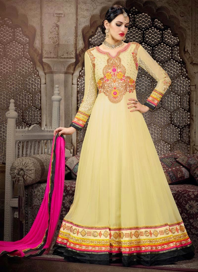 New Designs of Fancy Floor Length Dresses and Saris ...