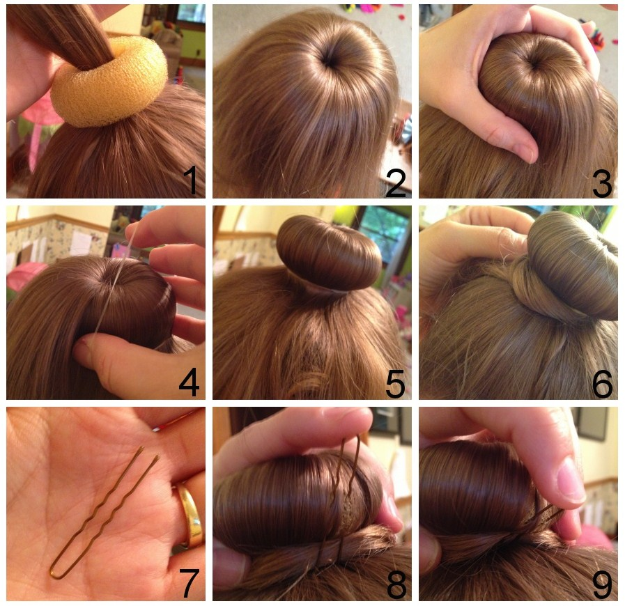 Take the free ends from each section and wrap the hair around the bun donut, making sure it's fully covered —gotta' hide your secret weapon! 6 Secure with hair pins.