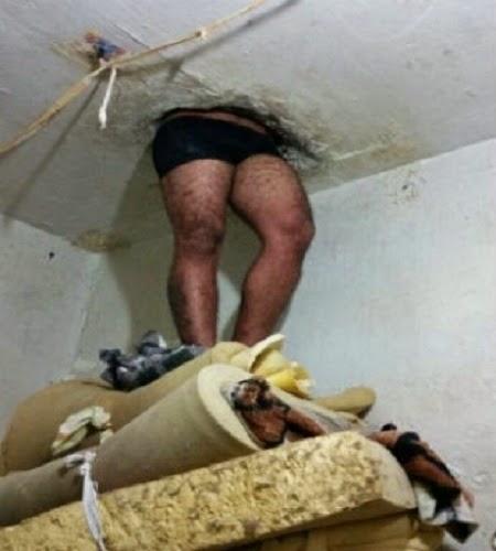 Detento fica enroscado em buraco durante tentativa de fuga