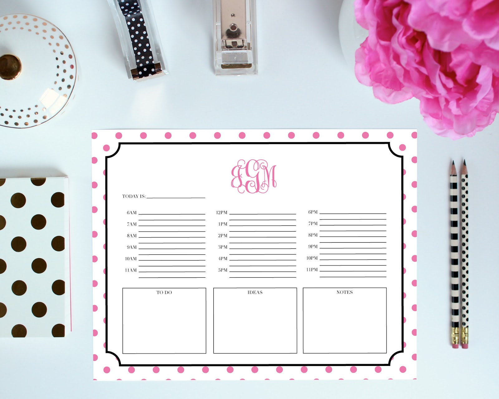 Day Layout - Printable Organization Pages can be customized with your monogram. You pick the colors, frame, font, and more!
