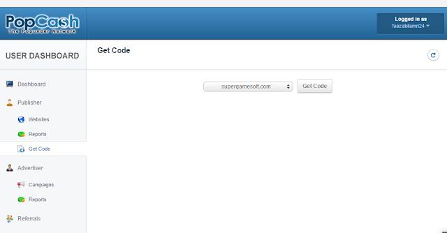 memasang kode popcash