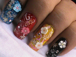 Easy nail designs with FIMO flower nail art- Fimo Canes nail art design Tutorial Video for beginners