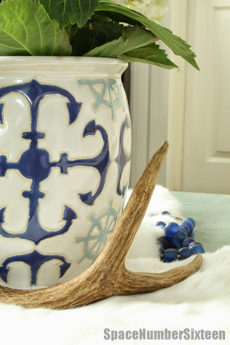 blue and white anchor pattern planter