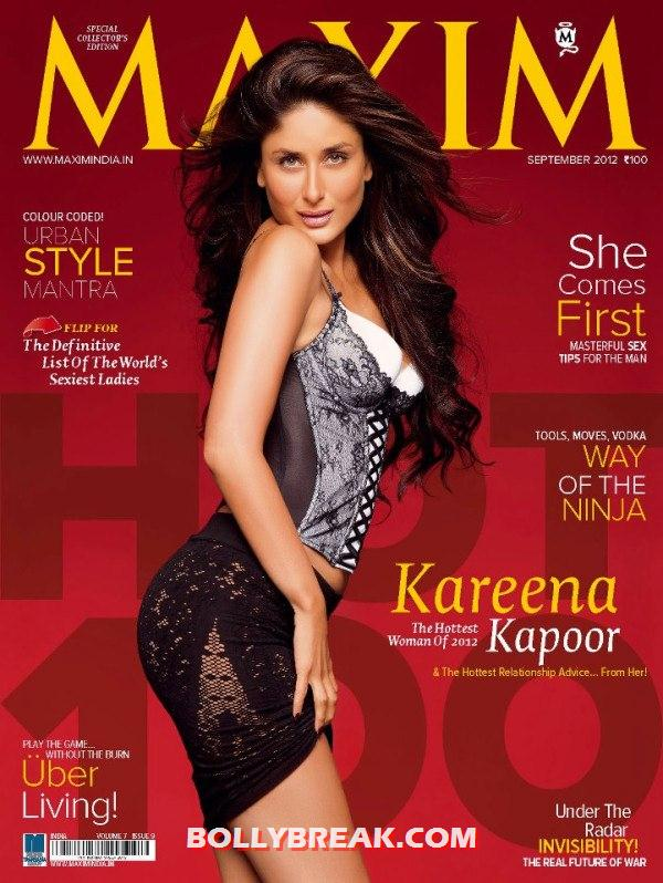 Kareena Kapoor Hot on cover of Maxim Magazine September 2012 - Kareena Kapoor Maxim Cover Scan - September 2012 