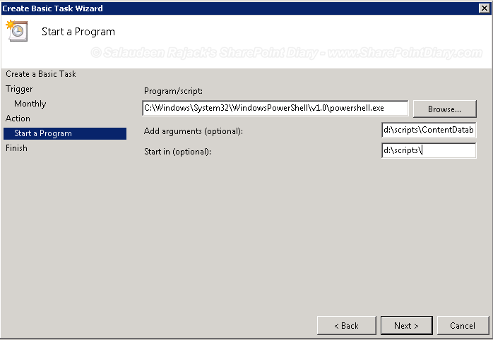 powershell script scheduled task parameters