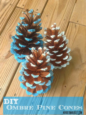diy ombre painted pine cones