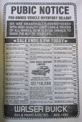 Black and white newspaper ad for a car dealer with large all caps headline PUBIC NOTICE