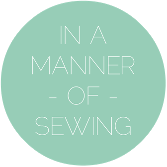 In a manner of sewing