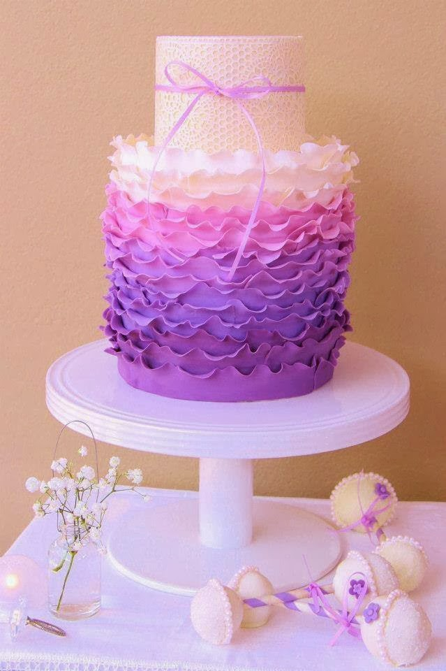 pink and purple ombre cake
