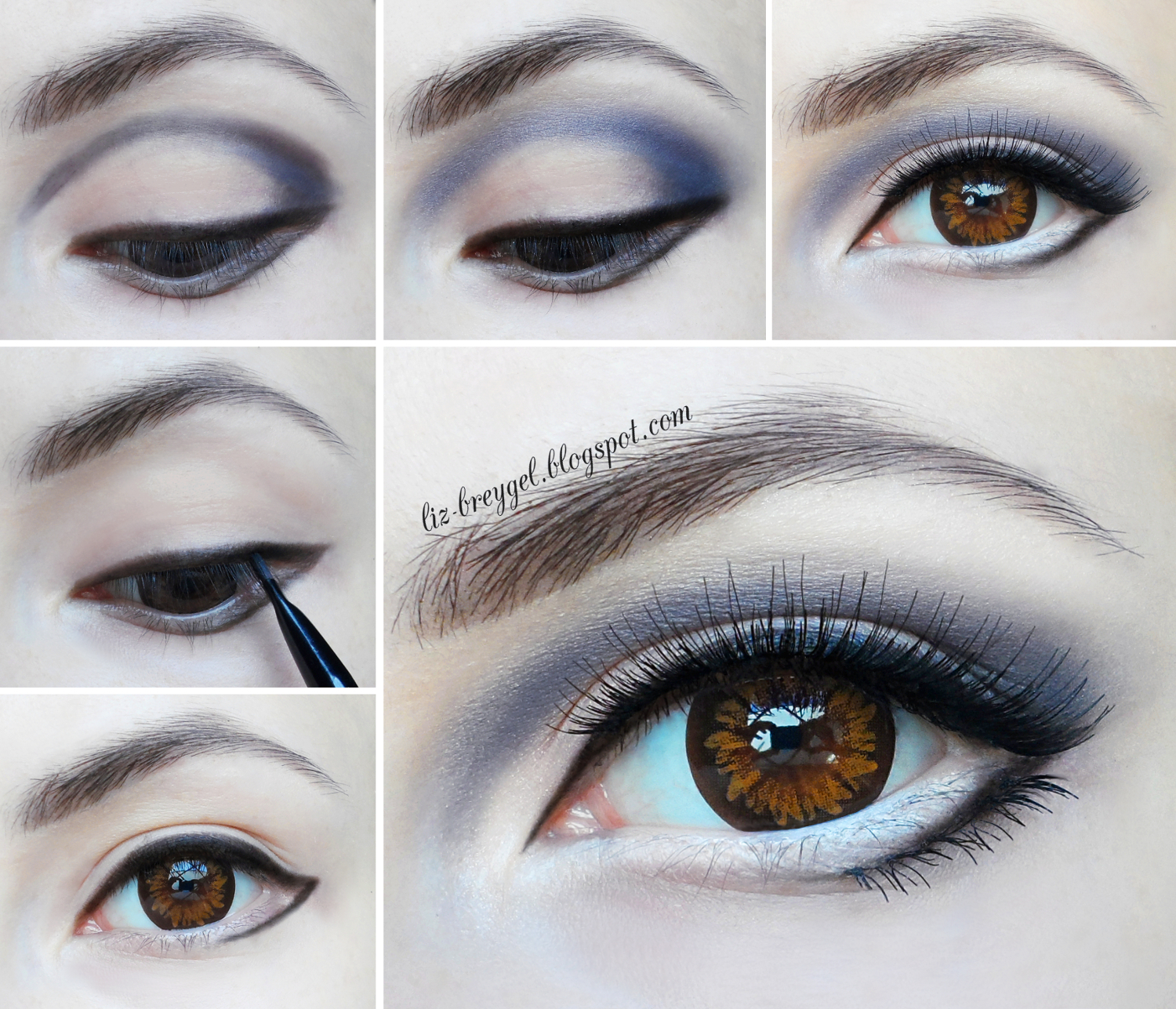 Eye makeup steps with