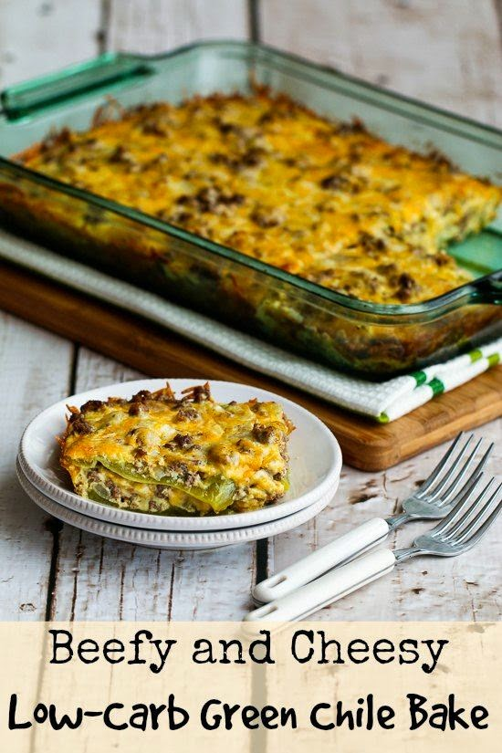Beefy and Cheesy Low Carb Green Chile Bake Gluten Free