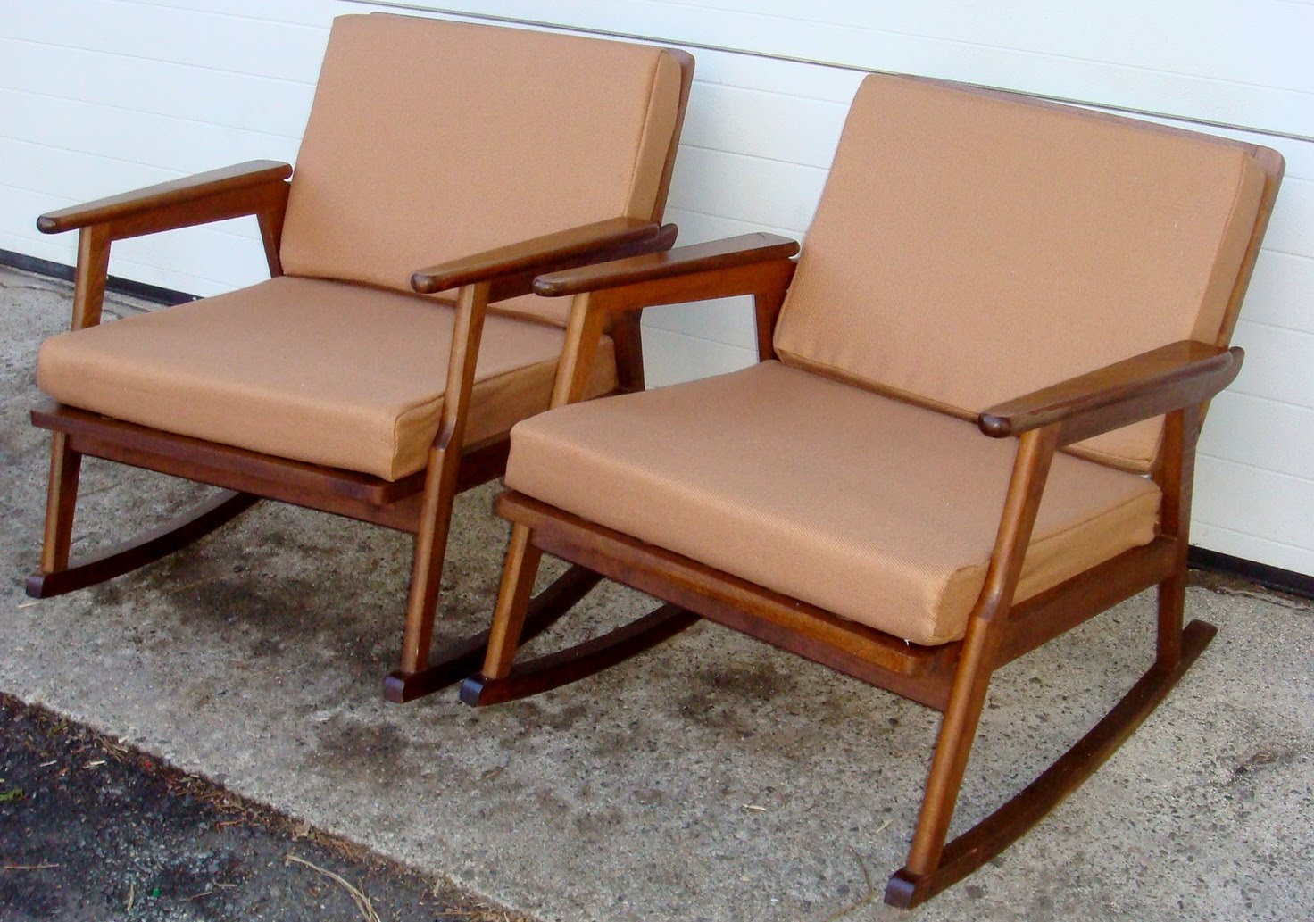 mid century italian wood rocking chairs 2
