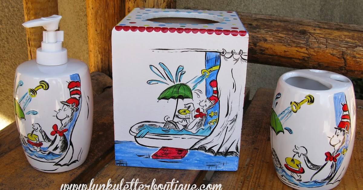The Funky Letter Boutique 19 Must Haves For Decorating An Adorable Dr Seuss Cat In Hat Themed Bathroom