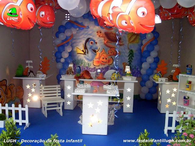 tema Nemo em mesa decorativa provençal para festa de aniversário infantil