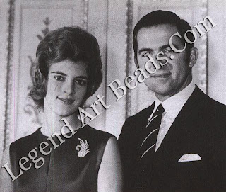 """Among Van Cleef & Arpels' clients of note: King Constantine of Greece with his then fiancée, Princess Anne-Marie of Denmark, wearing a """"Swan"""" clip made of gold and diamonds (c. 1963)"""