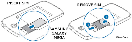 Samsung Galaxy Mega GT-I9205/GT-I9200 Insert and Remove microSIM Card