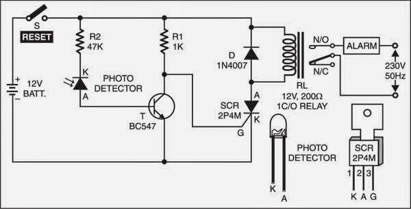 wiring  u0026 diagram info  intruder detector using laser torch