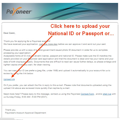 Upload Link for Payoneer MasterCard