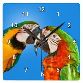 Loving Parrots Clock
