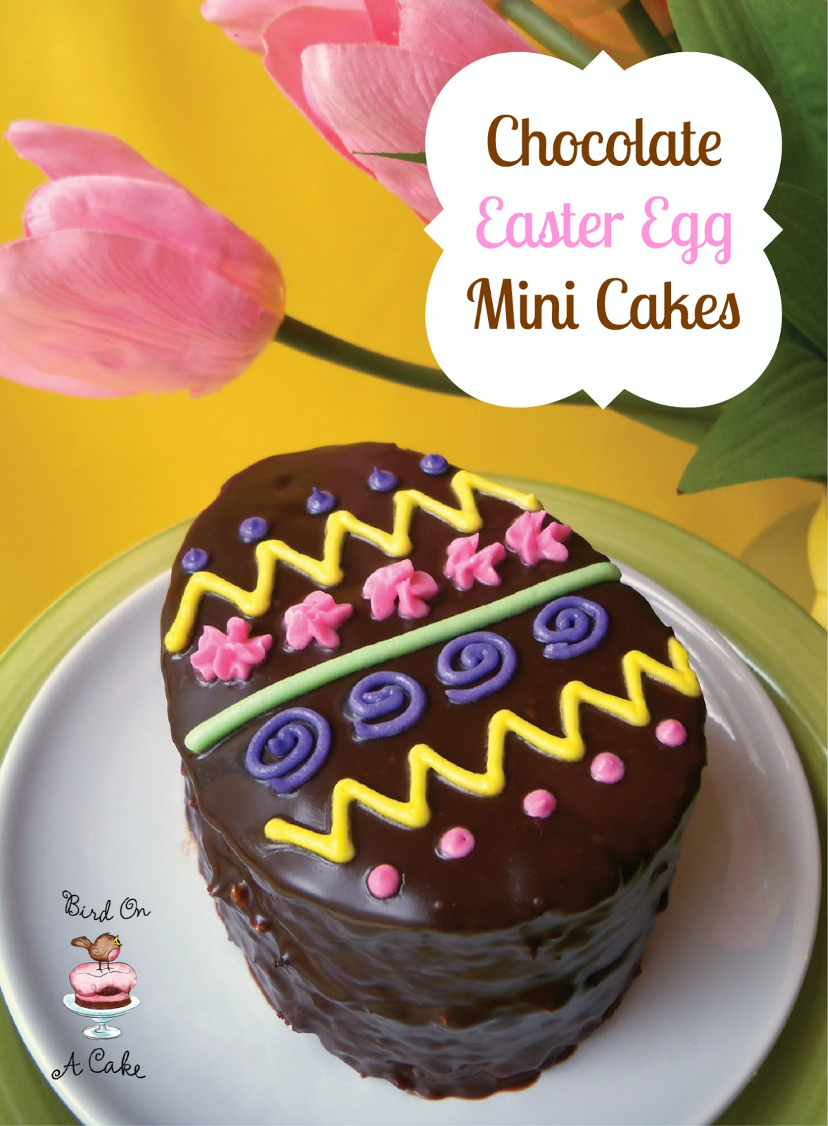 bird on a cake chocolate easter egg mini cakes