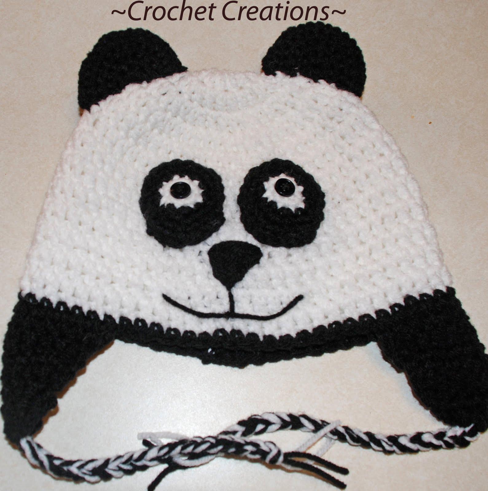 Panda Bear Earflap Hat Crochet Pattern : Gallery For > Crochet Panda Hat