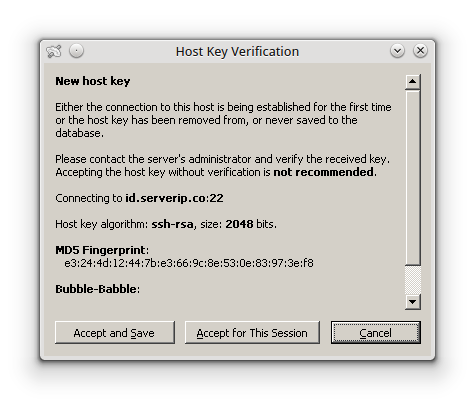 konfirmasi host key verification akun ssh
