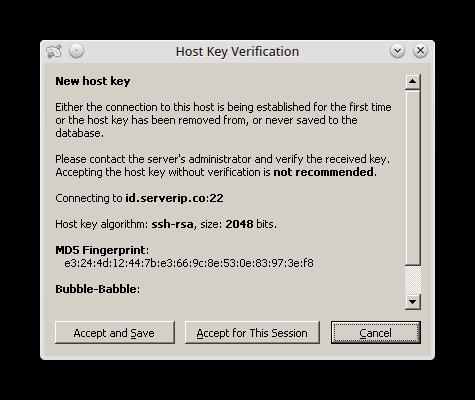 konfirmasi host key verification akun ssh