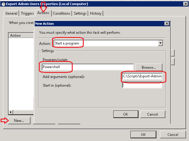 Export Active Directory Users to CSV via Schedule Task using Powershell script