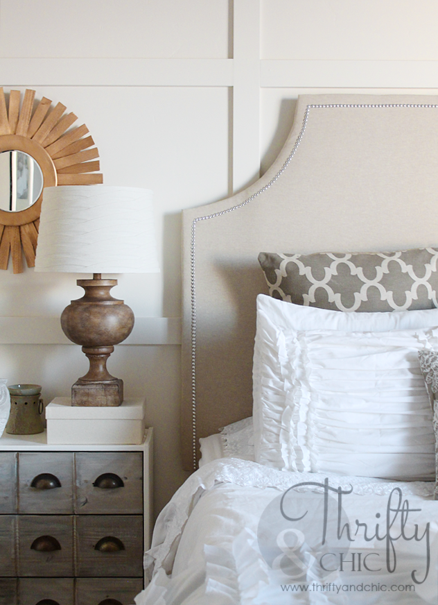Knock-off nail head trimmed upholstered headboard for under $40!